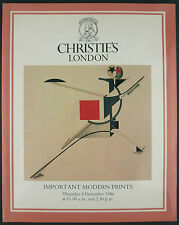 CATALOGUE VENTE ENCHERES - CHRISTIE'S LONDON - IMPORTANT MODERN PRINTS - 1986