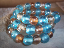 Hand Crafted BLUE & TAN Glass BEAD Memory Wire Wrap Bracelet Beach Gypsy D-100