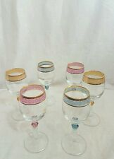 6 New VTG Crystal Mode Lavorato E Decorato A Mano Glass Set Coloured Neck & Trim