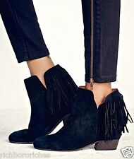 NIB Free People black suede Gallery Fringe Hidden Wedge Boots Booties 37 / 7