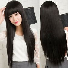 Cheap Black Women Long Straight Silky Hair Full Wig Cosplay Daily Party Wig
