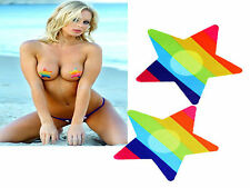 2 x Nipple Cover Sticker Bra Pad Patch Pasties Disposable #Rainbow Star