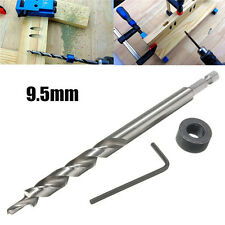 9.5mm Twist Step Drill Bit With Depth Stop Collar for Kreg Pocket Hole Jig Kit