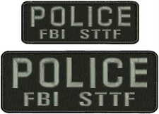 POLICE FBI STTF  EMBROIDERY PATCH  3X8 AND 2X6 hook on back GRAY