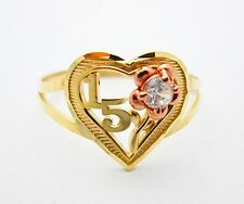 Girls 10k Two Tone Gold Sweet 15 Ring 15 Anos Ring