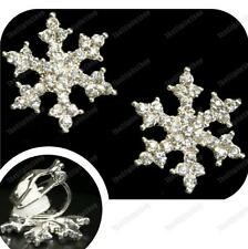 CLIP ON rhinestone CRYSTAL SNOWFLAKE EARRINGS silver plated SPARKLY CLIPS comfy