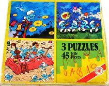 Boite de 3 PUZZLES anciens Les SCHTROUMPFS la fête fest der Schlumpfe 45 pièces