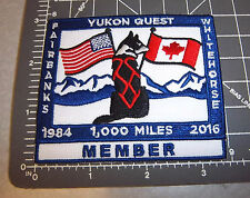 Alaska Yukon Quest 1000 mile Dog Sled Race 2016 Embroidered Patch - MEMBER