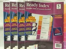 LOT OF 4 READY INDEX TABLE OF CONTENTS DIVIDERS 5 TABS FOR 3 RING BINDERS 20 CT