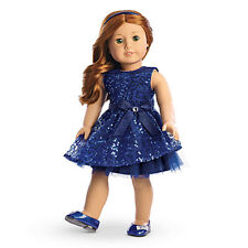 "American Girl MY AG HAPPY HOLIDAY DRESS for 18"" Dolls Blue Sparkle Shoes NEW"