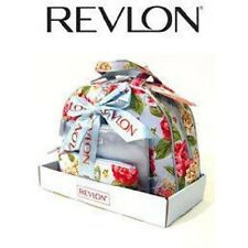 Revlon 3 Piece Blue & Floral Pattern Travel Cosmetics Bag Gift Set Holiday NEW