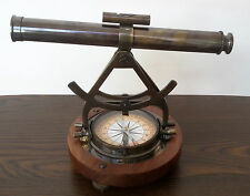 NAUTICAL ANTIQUE ALIDADE TELESCOPE WITH COMPASS ANTIQUE BRASS MARINE GIFT ITEM