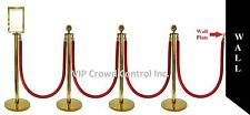 "ROPE STANCHION, 10 PCS SET, CROWN TOP, GOLD POLISH S.S. 12"" DOMED BASE"
