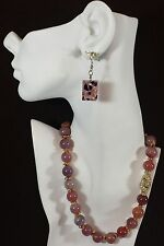 Jewelry LOT OF 2 Necklace Earrings Gold Tone Magnet Clasp Glass Gemstone Chri...