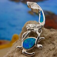BEAUTIFUL STERLING SILVER BLUE OPAL MERMAID SLIDE PENDANT HOLDING SEA TURTLE