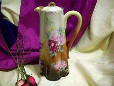 Large Limoges  Haviland Hand Painted Rose Chocolate Pot