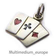 Silber Anhänger Spielkarten Charms 835 vintage silver pendant deck playing cards
