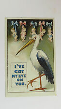1910s Edwardian Vintage Comic Postcard Stork New Baby Boy Girl Bouncer Pregnancy