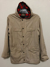Bengal Lancer Mens Hooded Jacket 40 Light Weight Coat Beige Zipper & Snap Front