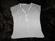 pretty grey v neck womens tshirt top embroidered / satin detail size T1  8 -10