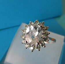 9ct White Gold Quartz & Green Amethyst Cluster Ring - Size R 1/2 - Hallmarked
