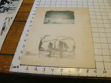Charles E. Pont Orig. shading Art from 1939 Circus Boat book: sunset, boat