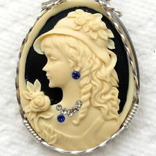 Classy Hat Lady Cameo Pendant .925 Sterling Silver Jewelry Cream Resin