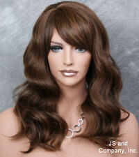 Human Hair Blend Long Brown auburn blonde Wavy HEAT SAFE Wig w. bangs WY 4-27-30