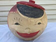 RARE Antique American Bisque Round Moon Face Cookie Jar Red Hair w/ Lid