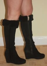 LK Bennett Black Suede Knee-high Wedge Boots, 3/36