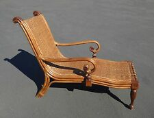 Unique Vintage Tiki Palm Beach Style Rattan & Carved Wood LOUNGE CHAIR