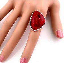 Hot Sell Red Amber Gem Jewels Silver Plated Alloy Finger Ring Size Adjustable