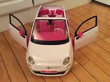 Mattel Barbie Fiat 500 Convertible Toy Car White Pink 2008