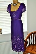 Stunning 1920s Style ⭐️ Changes ⭐️ Purple Beaded Dress Size 16 Plus Size Curve