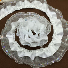 NEW5yards 3-Layer 45mm White organza Lace Gathered  Pleated sequined Trim NP30