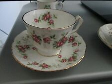"Vintage BONE CHINA TEA CUP SET Made in England "" GROTTO ROSE""~MINT"