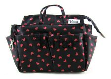 Periea Handbag Organiser, Liner, Insert Black With Red Hearts - Sash