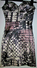 RARE Graphic Print Strapless Tube Satin Look Summer Party Dress Size 6 RRP £49