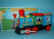 70s VINTAGE TRAIN SEE-SAW EXPRESS LOCOMOTIVE TIN LITHO B/O JAPAN BOXED