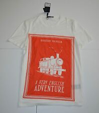 New Burberry Mens Prorsum T-Shirt Off White Orange Graphic Cotton Size XL $375