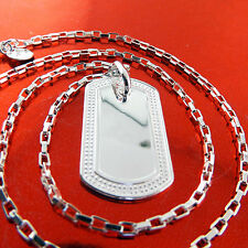 FSA451 GENUINE REAL 925 STERLING SILVER S/F SOLID CLASSIC DOG TAG NECKLACE CHAIN