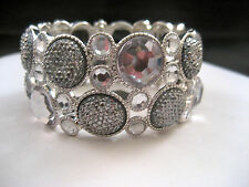 INC Silver Stretch Bangle Wide Cuff Bracelet Black Claer Crystals Macy's New