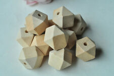 15pcs 20mm Geometric Wood Bead Unfinished Natural Wooden Necklace Craft Punk