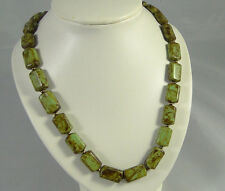 Vintage CHUNKY LOZENGE BEAD Scottish speckled Glass Agate Murano necklace-GREENS