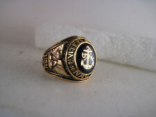 US  Navy    ring  closed back  &  14k  gold Intaglio crest  size  9