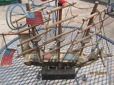 Vintage Wooden Sail Ship Bank with side Cannons - USA American Flags