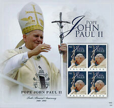 Palau 2015 MNH Pope John Paul II 1920-2005 10th Mem Anniv 4v M/S Popes Stamps