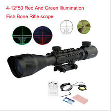 Hunting 4-12X50EG Tri-Side Rail Mounting Green&Red Mil Dot Sight Scope For Rifle