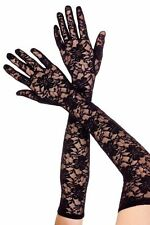 LONG LACE GLOVES BLACK WHITE RED COSTUME OPERA GOTHIC VINTAGE FAST FREE POST