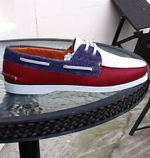 etro mens Loafers Soft Suede Red/White-blue size 8 euro 42